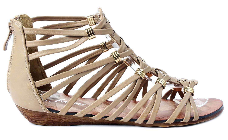 Rebel15 Strappy Gold Accent Gladiator Roman Wedge Dress Sandals B00WYD66U4 6.5 B(M) US Taupe