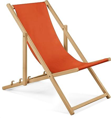 chaise longue de jardin en bois fauteuil relax chaise de plage orange