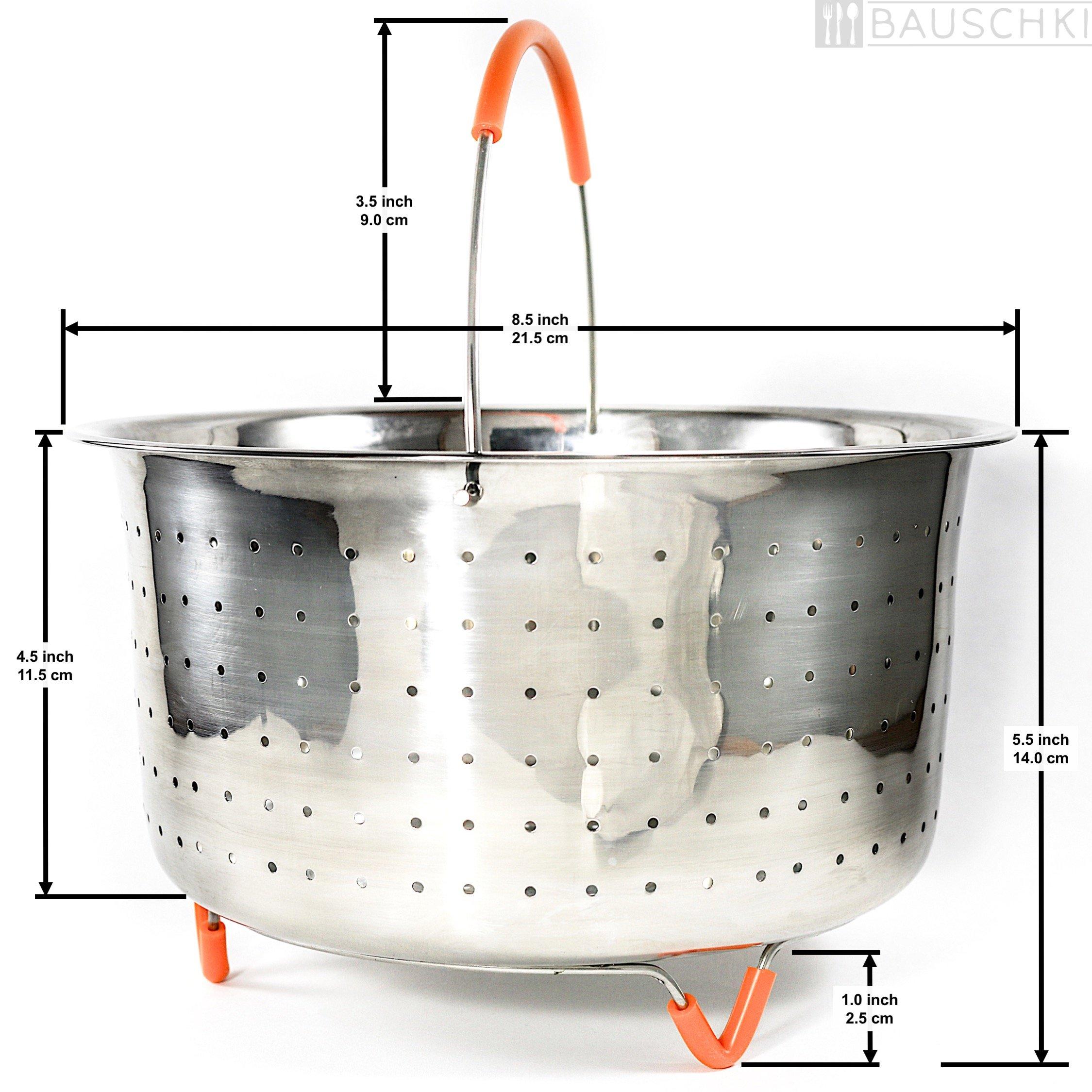 Bauschki Instant Pot Accessories, Vegetable Steamer Basket for instapot 6qt, 8qt - Egg Meat Food Rice Dumpling Cooker 6 qt, 8 quart Accessory - Stainless Steel, BPA Free Non-Slip Silicone Handle &Legs by Bauschki (Image #2)