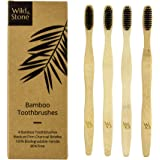 Premium W&S Bamboo Toothbrushes with Charcoal Infused Medium Fibre Bristle Natural Teeth Whitening Plastic Free 100% Biodegradable Environmentally Friendly | 4 Pack by Wild and Stone