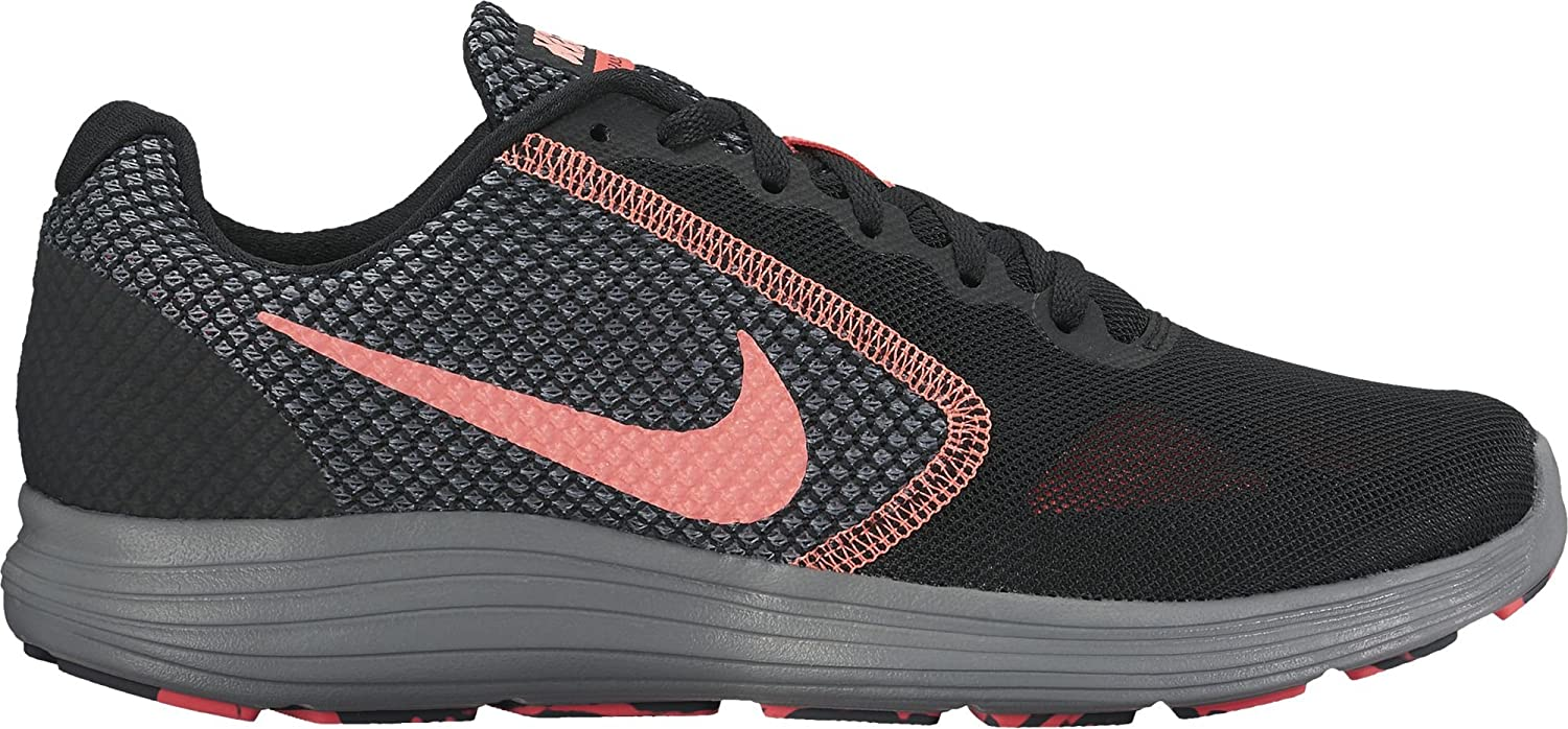 NIKE Women's Revolution 3 Running Shoe B01H605TZC 6.5 B(M) US|Black/Lava Glow/Hot Punch/Cool Grey