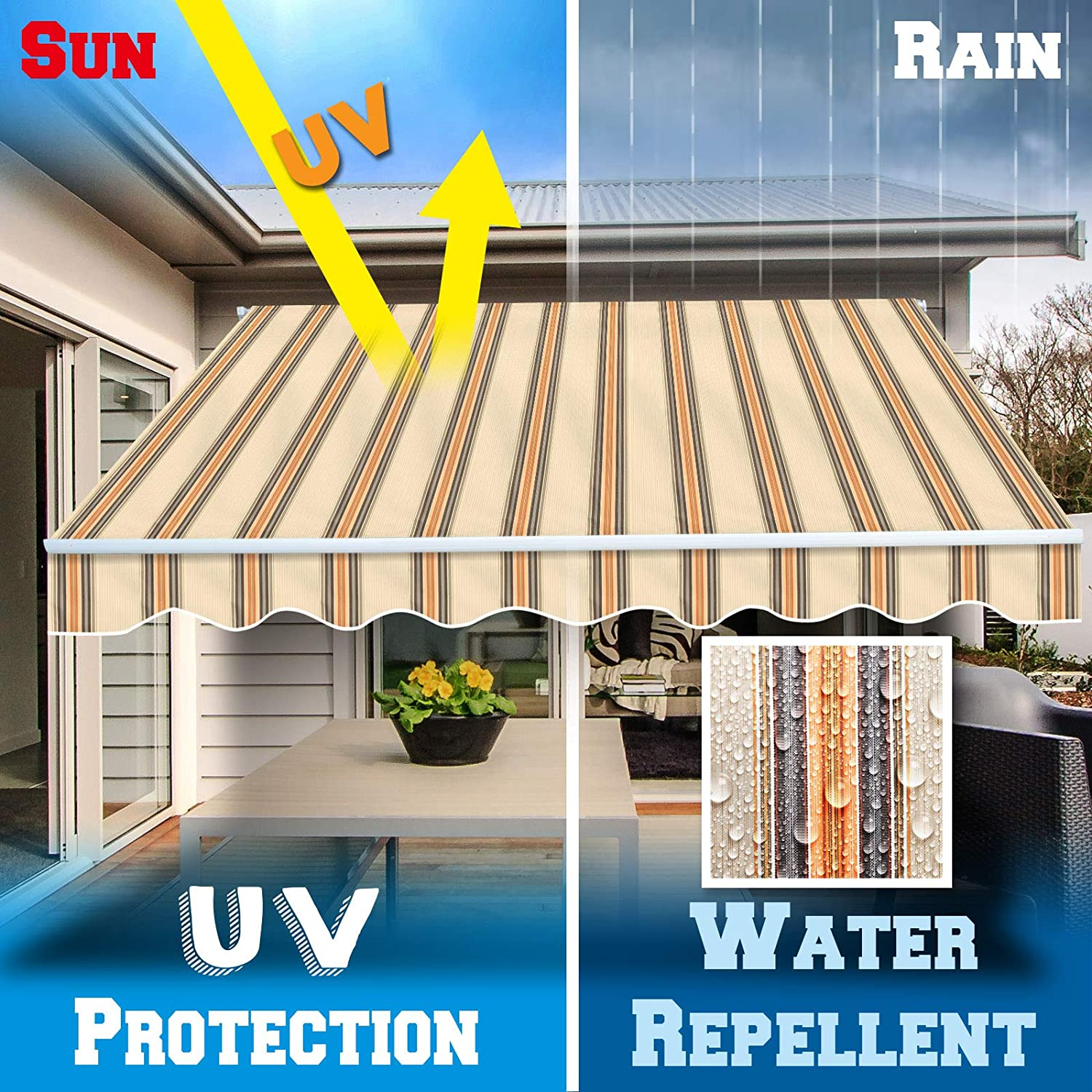 Beige BenefitUSA Canopy ONLY Retractable Replacement Canopy for 8 x 6.4 Patio Deck Awning Sun Shade Outdoor