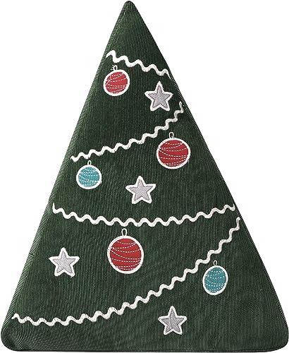 Levtex Santa Claus Lane Xmas Tree Pillow, Christmas, 88 Polyester,12 Chinlon, Green, red, Silver