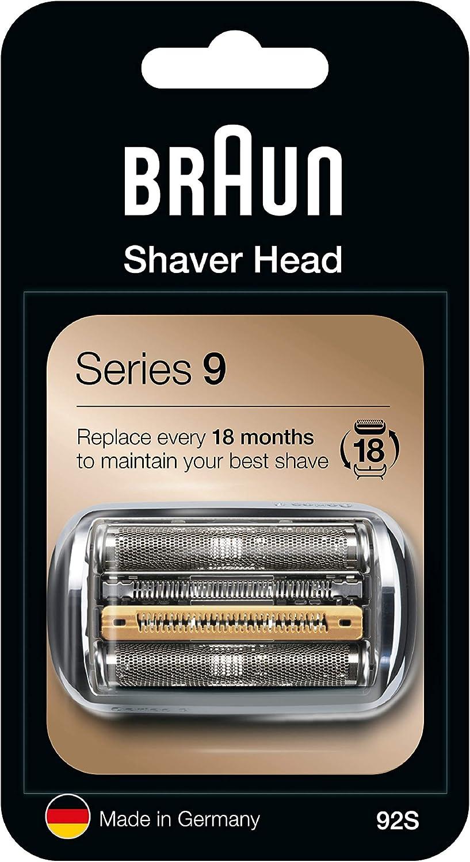 Braun 92S - Recambio para afeitadora eléctrica hombre Series 9, plata