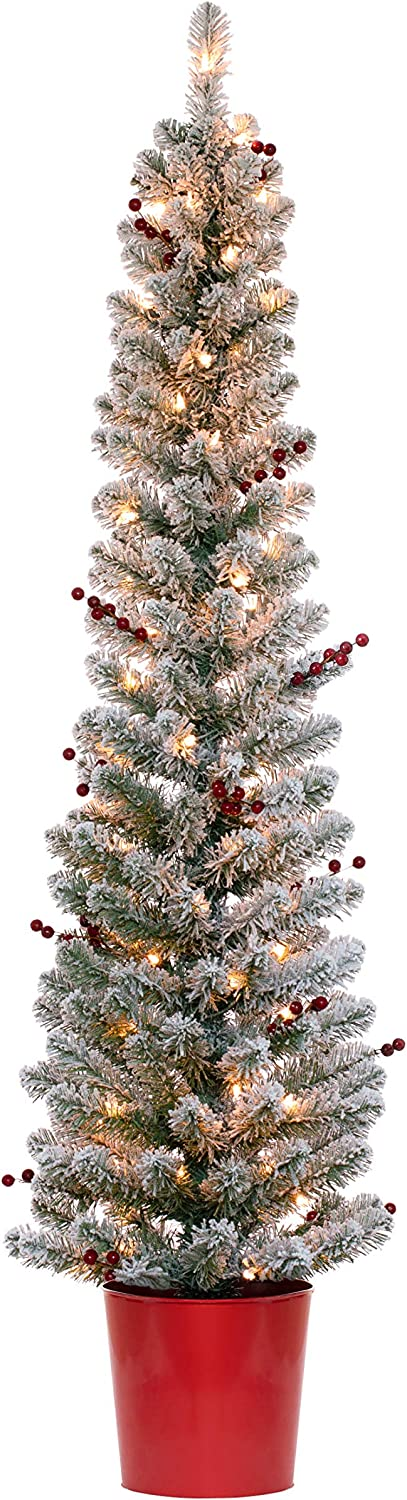 Haute Decor 5 Foot Pre-lit Flocked Berry Artificial Fir Christmas Potted Pencil Tree with 70 Clear Incandescent Lights
