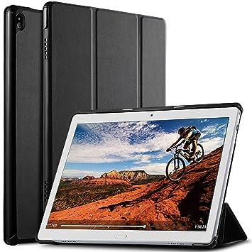 ELTD Funda Carcasa para Lenovo Tab P10, Ultra Delgado Silm Stand Función Smart Fundas Duras Cover para Lenovo Tab P10 2018 Model Tableta, (Negro)