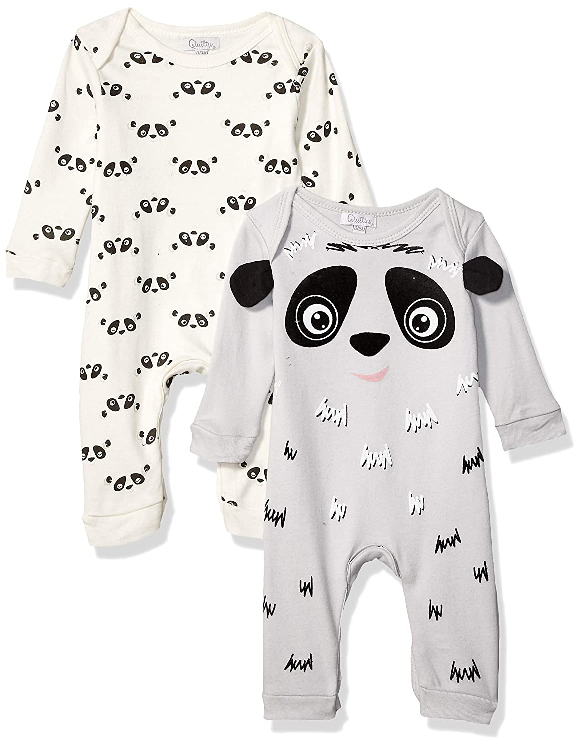Quiltex Boys Toddler Panda Print Cute Novelty Coverall 2 Pack Set