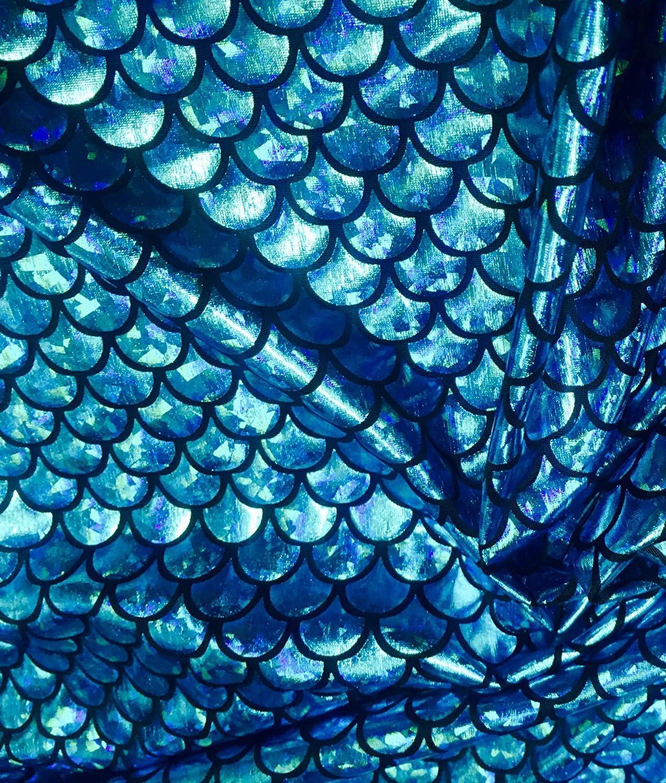 2 Way Stretch Material Lycra Spandex 150cm Wide Dress Mermaid Scale Print Fabric Fish Tale Scales Foil Decor 1 Meter, Aqua Bikini Costume