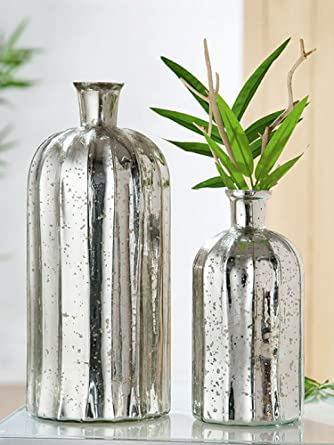 Moderno Jarrón Fascia en plata de vidrio, botella, decorar, mesa