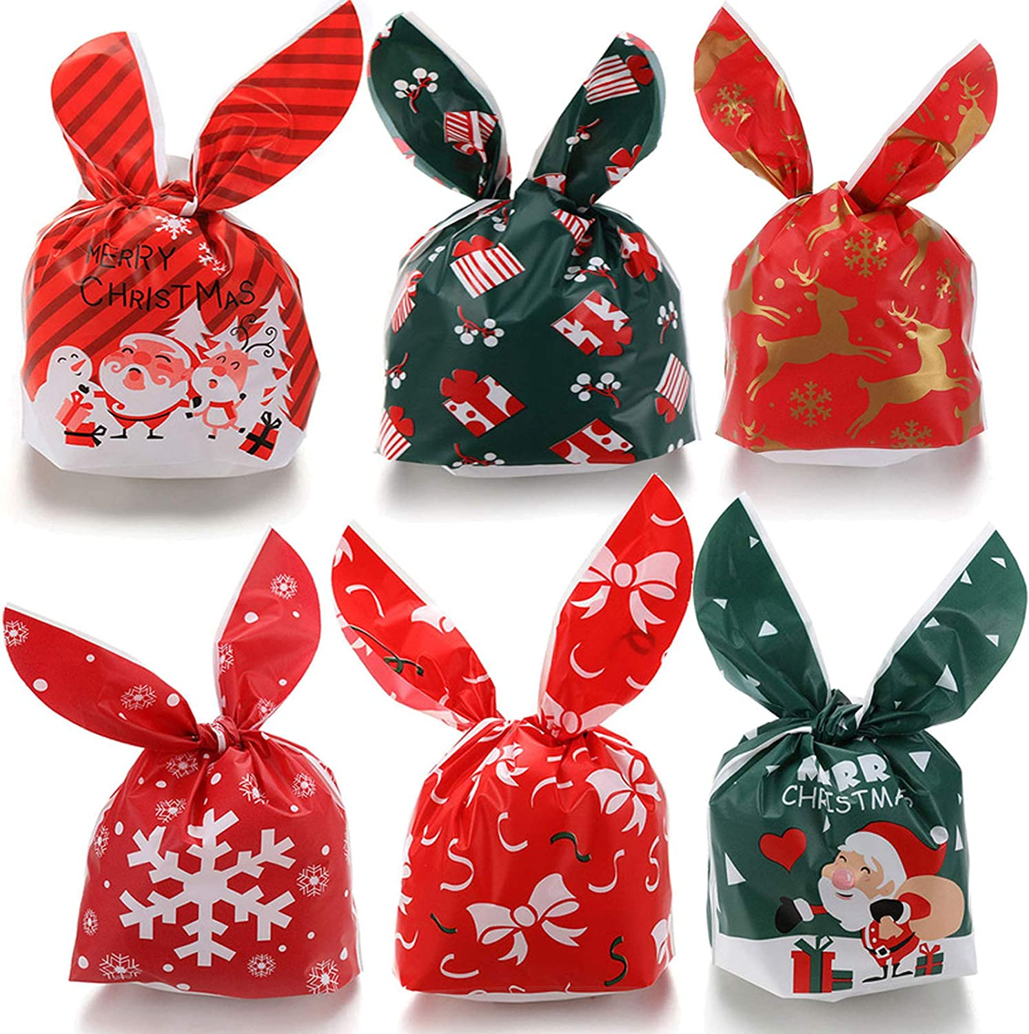 60 Pcs Christmas Candy Bags Party Bags Kids Trick Or Treat Bags Rabbit Goody Bags Christmas Party Gift Favors,Kids Christmas Party Supplies
