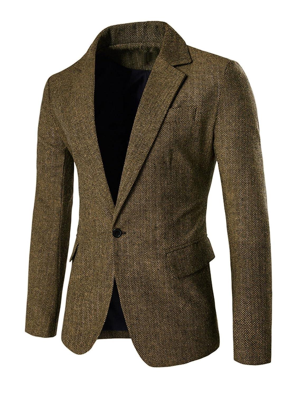 Men Notched Lapel Long Sleeves One-Button Stripes Blazer