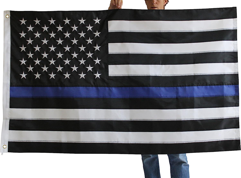 AMERICAN FLAG BLACK /& WHITE w//BLUE LINE REVERSE IRON ON PATCH LAW ENFORCEMENT,