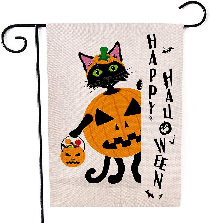 Black Halloween Cat Garden Flag Vertical Double Sided Pumpkin Burlap Yard Outdoor Decor 12.5 x 18 Inches