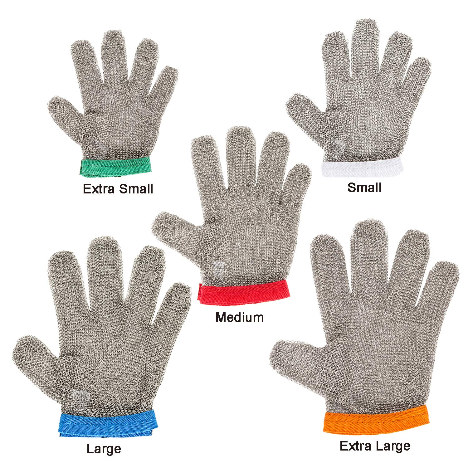 Stainless Steel Mesh Cut-resistant Glove - Chain Mail Glove for Hand Protective, Safety Glove for Home Kitchen, Butcher, Oyster, Garment. Fish Worker (Large) by HANDSAFETY (Image #5)