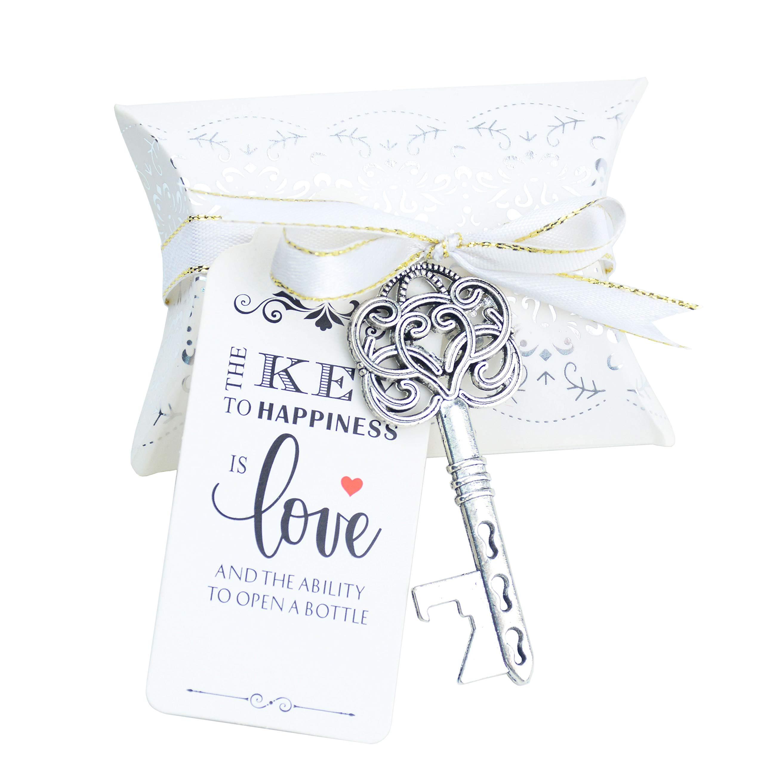 Aokbean 50pcs Vintage Skeleton Key Bottle Openers Wedding Favor Souvenir Gift Set Pillow Candy Box Escort Thank You Tag French Ribbon by Aokbean