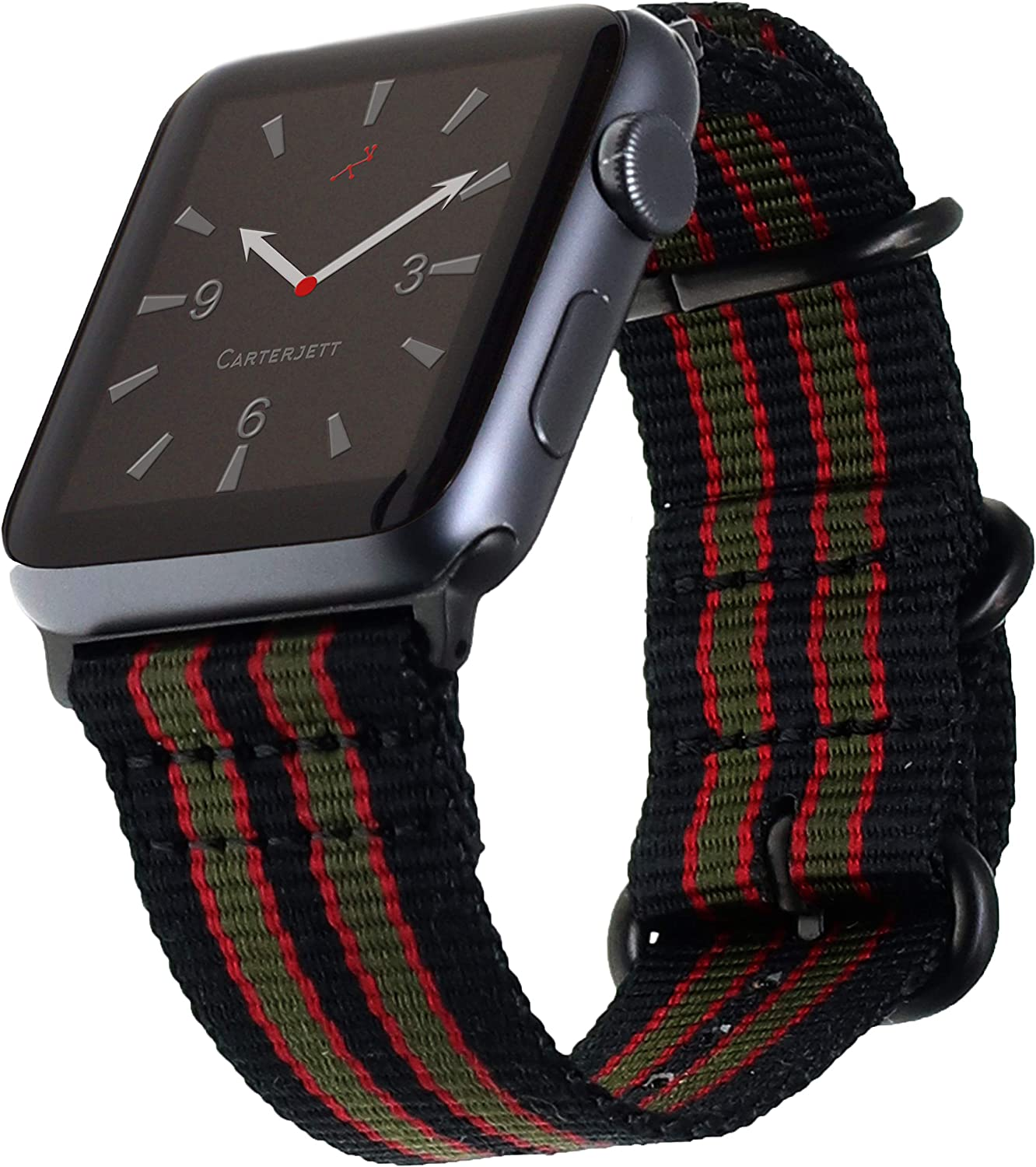 """Carterjett Extra Large Nylon Compatible with Apple Watch Band 42mm 44mm XL James Bond Replacement iWatch Military Style Strap 8-10.5"""" Wrists X-Long for Series 5 4 3 2 1 Sport (42 44 XXL Vintage Bond)"""