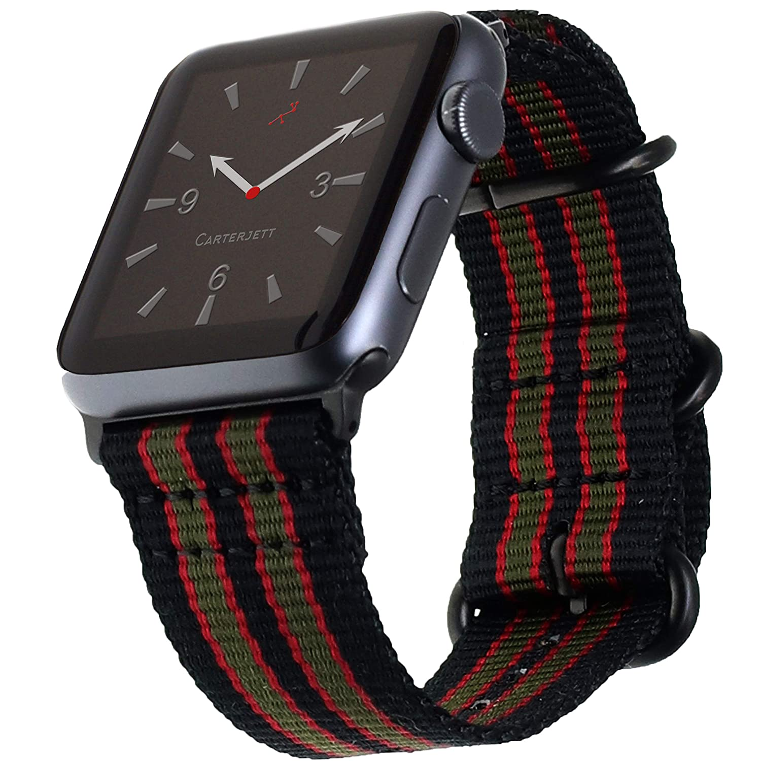 Carterjett Compatible with Apple Watch Band 42mm 44mm Men Women Nylon iWatch Bands Replacement Wrist Strap James Bond NATO Loop Buckle for Series 4 Series 3 2 1 Nike Sport (42 44 S/M/L Vintage Bond)