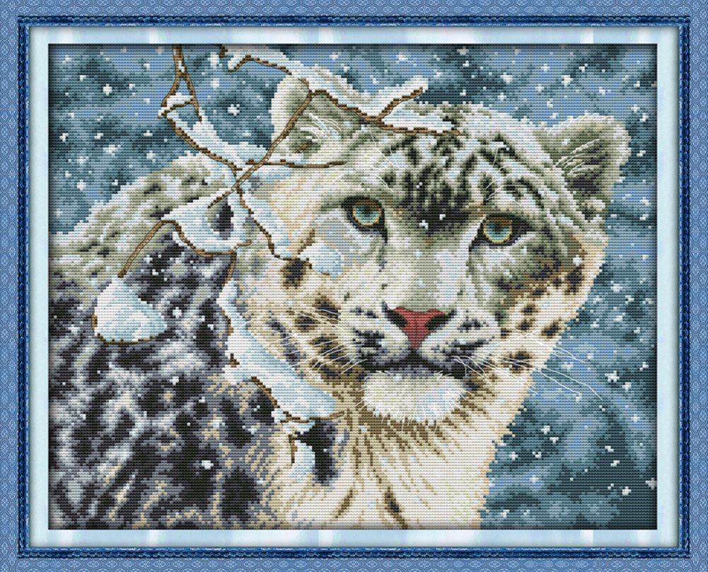 CaptainCrafts Hots Cross Stitch Kits Patterns Embroidery Kit - Snow Leopard (WHITE)