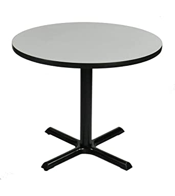 Correll BXTR Gray Granite Top And Black Base Round Bar Café - Round metal cafe table