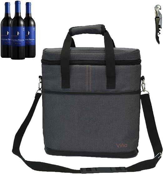Black Stylish 2 Bottle Wine Tote with Corkscrew