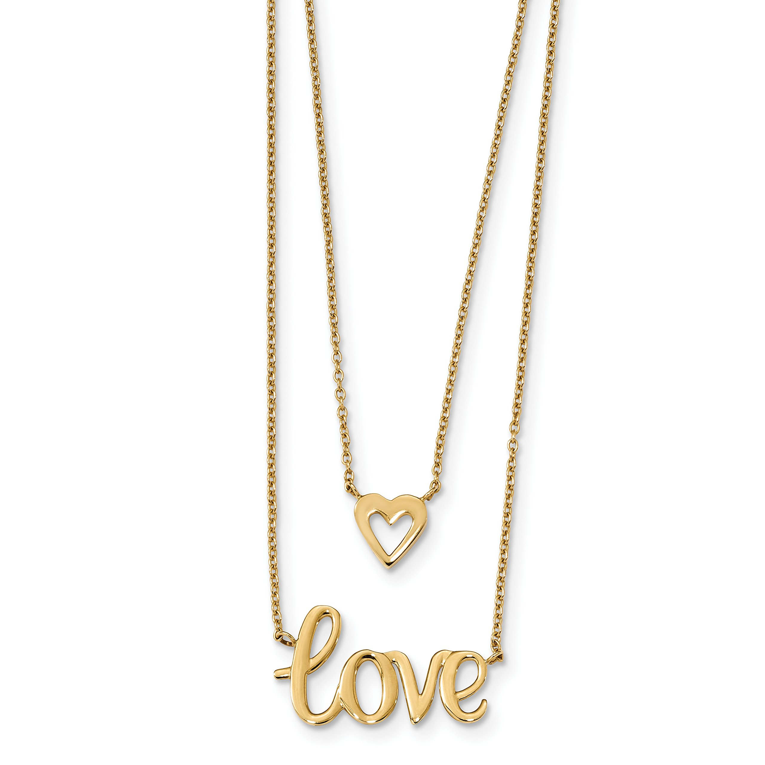 ICE CARATS 14k Yellow Gold 2 Strand Love Heart Chain Necklace Fancy Fine Jewelry Gift Set For Women Heart