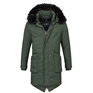 Marikoo Lange Herren Winter Jacke Parka Mantel Winterjacke warm gefüttert  B398  B398-Gruen- e8976f493e