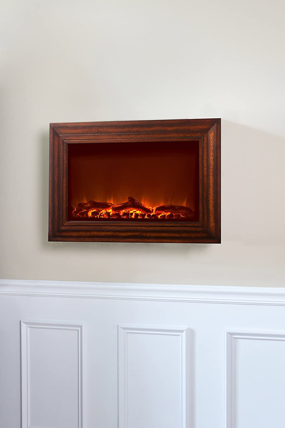 Amazon.com : Fire Sense Wood Wall Mounted Electric Fireplace ...