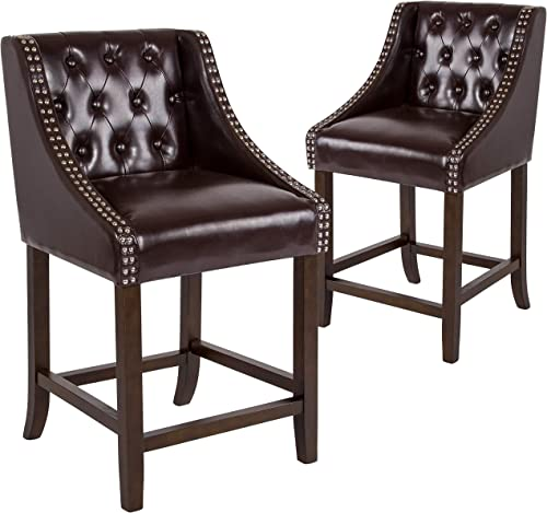 Taylor Logan Residential Barstools, 2 Pack, Brown Leather