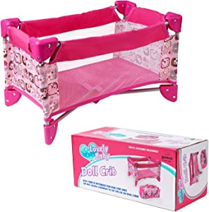 Yesteria Doll Crib Pack N Play Doll Bed - Suitable for 22'' Reborn Baby Dolls & 18'' American Girl Doll - Pink Flower Pattern