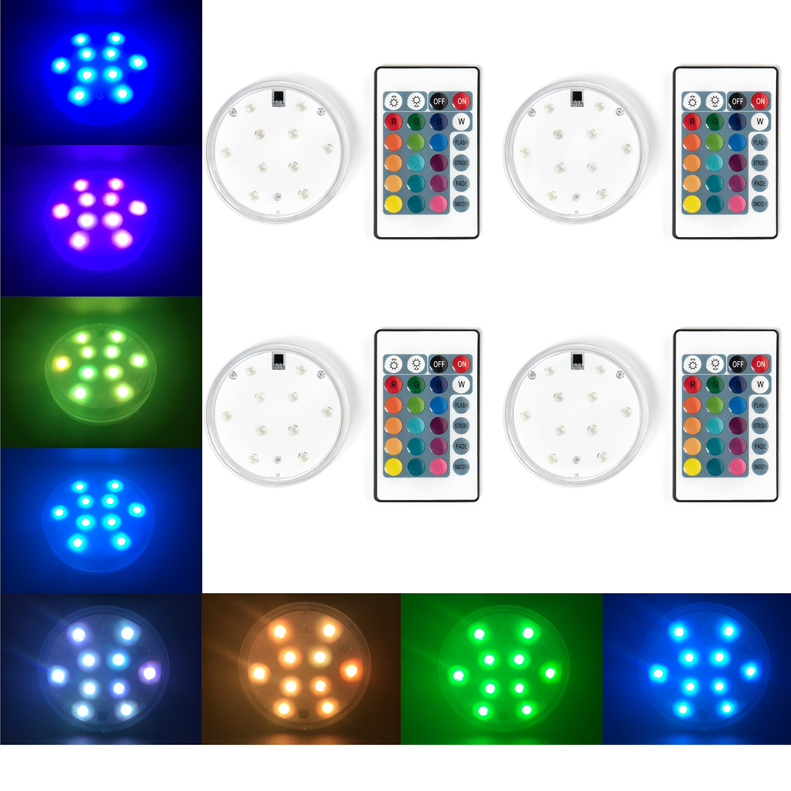 Submersible LED Lights [4 Pack], RGB Submersible LED Lights, Fountain Lights LED Submersible, LED Pond Lights Submersible ~ Non-Flicker Multicolor LED for a Smooth Out-of-This-World Light Show!