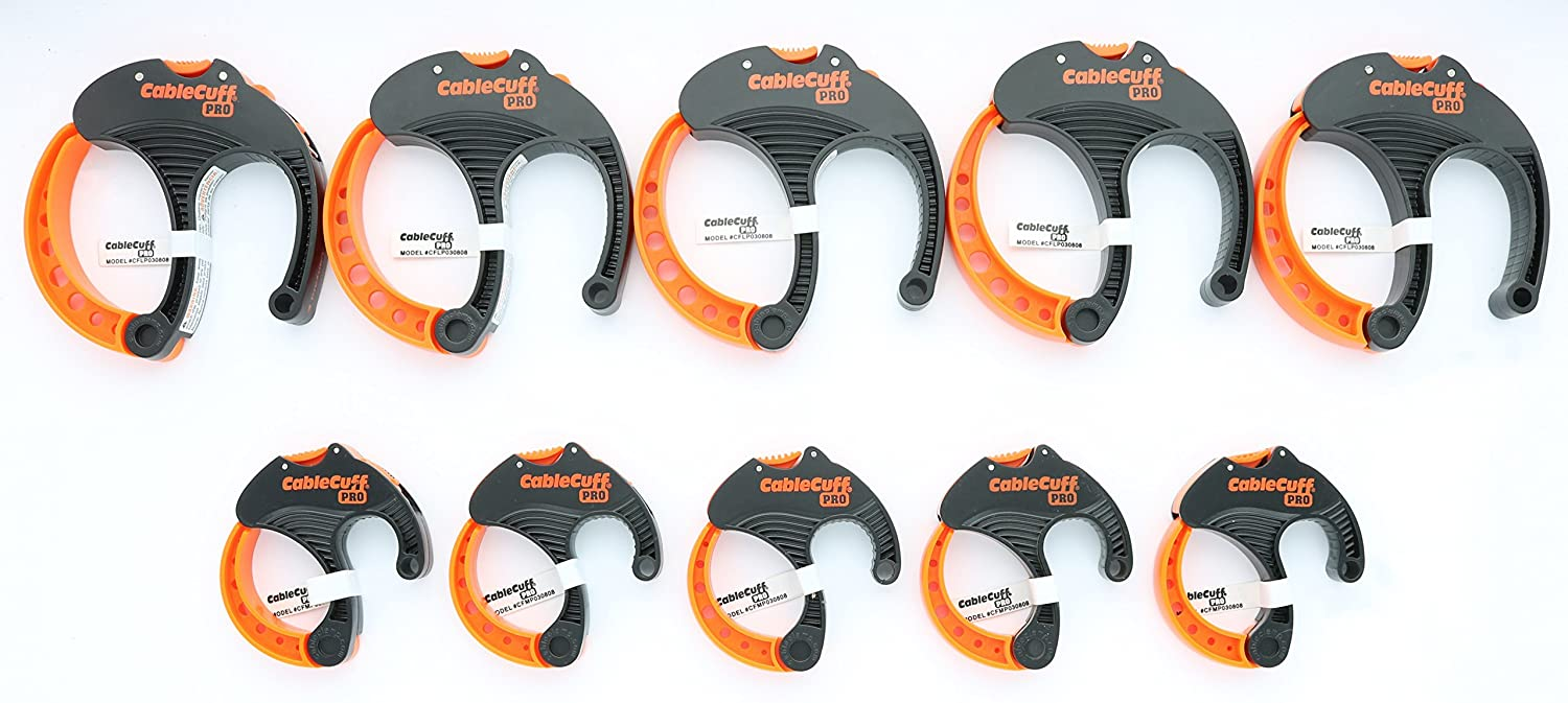 Cable Cuff PRO 10 Piece Bundle 5x Medium 2 Inch 5x Large 3 Inch Diameter Adjustable Reusable Cable Tie Replacements for Extension Cords or Electronics