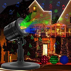 Christmas Laser Lights, RGB Star Projector, HappyHapi Moving Star Laser with 19 Patterns in 5 Themes for Christmas, Waterproof Laser Lights Projector with RF Remote Controller