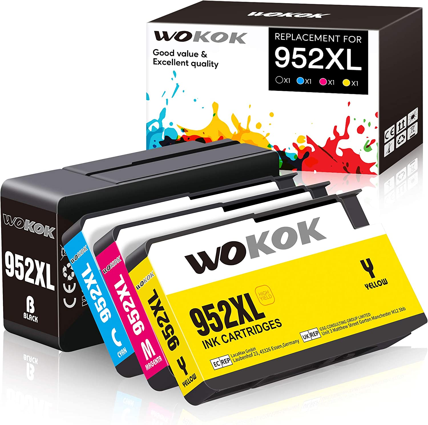 WOKOK Remanufactured Ink Cartridge Replacement for HP 952XL Ink Cartridges Combo Pack, with Updated Chips for HP OfficeJet Pro 8710 8720 8740 8730 8728 8702 7720 8210 8715 8216 8725 Printer (4-Pack)