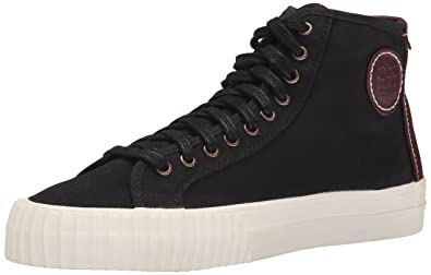 PF Flyers Men's Center Hi Fashion Sneaker, Black Twill/Leather, ...