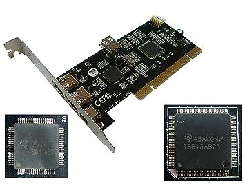 Kalea Informatique - Tarjeta para controlador (PCI a FireWire 400 IEEE1394a, 4 puertos, chipset doble Texas Instruments con recuperación de ...