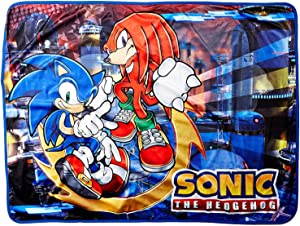"""Great Eastern GE-57718 Sonic The Hedgehog Sonic and Knuckles Throw Blanket 46""""x60"""""""