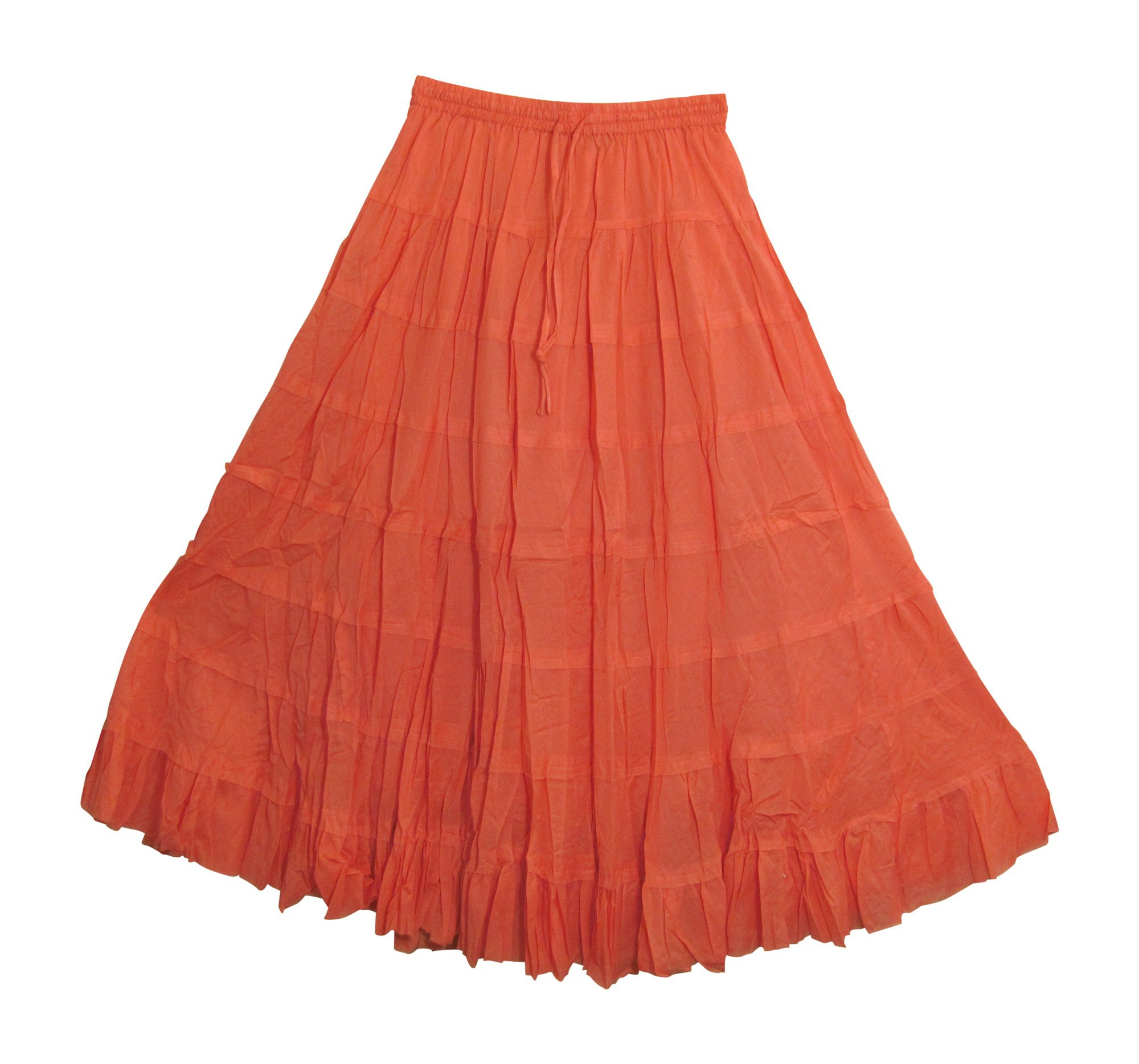 Yoga Trendz Missy Plus Bohemian Gauze Cotton Tiered Crinkled Broomstick Long Skirt Ombre (Solid Coral)