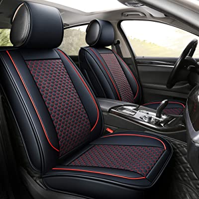 INCH EMPIRE Car Seat Cover-Football Liner Half Perforated Leatherette Cushion Fit for Accord Legacy Outback WRX Crosstrek Hybrid Tacoma FJ Cruiser RAV4 Corolla Matrix Venza Avalon (2 Front Black&Red): Automotive