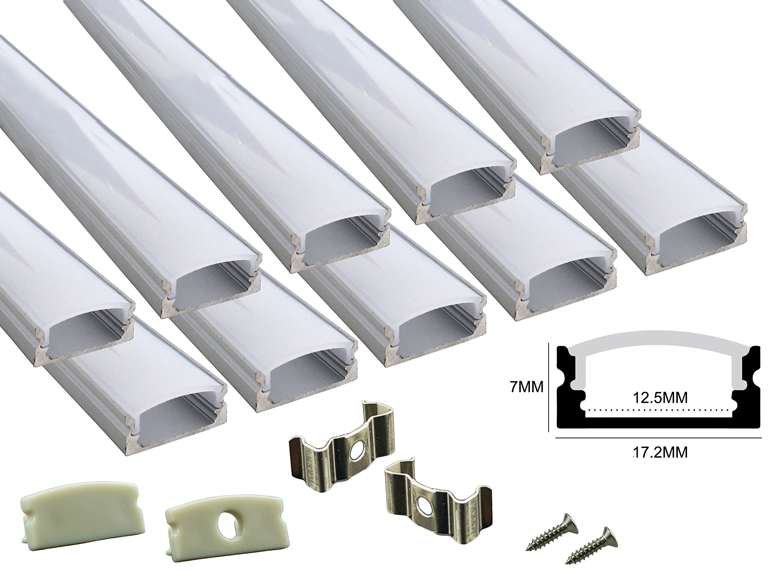 Muzata 10 PACK 1M/3.3ft Aluminum LED Channel for LED Strip Lights, Easy to Cut, U-Shape Aluminum Profile with All Accessories for Easy Installation by Muzata