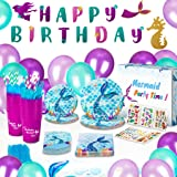 Mermaid Birthday Party Supplies and Decorations Kit - Paper Plates, Tattoos, Napkins, BPA Free Cups, Table Cloth, Happy…