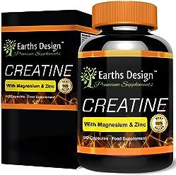 Creatina - Monohidrato de Creatina con Magnesio, Zinc, Vitamina B6-90 Cápsulas de