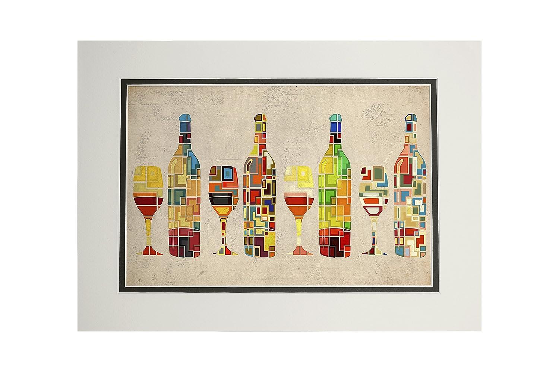 最安価格 ワインボトルとガラスグループ幾何 36 x Matted Art 54 Giclee Print LANT-49442-36x54 B06XZXGP66 11 11 x 14 Matted Art Print 11 x 14 Matted Art Print, ブンスイマチ:df18ebf7 --- 4x4.lt