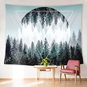 """HUEMANKIND Aesthetic Blue Mountain Tapestry Wall Hanging 