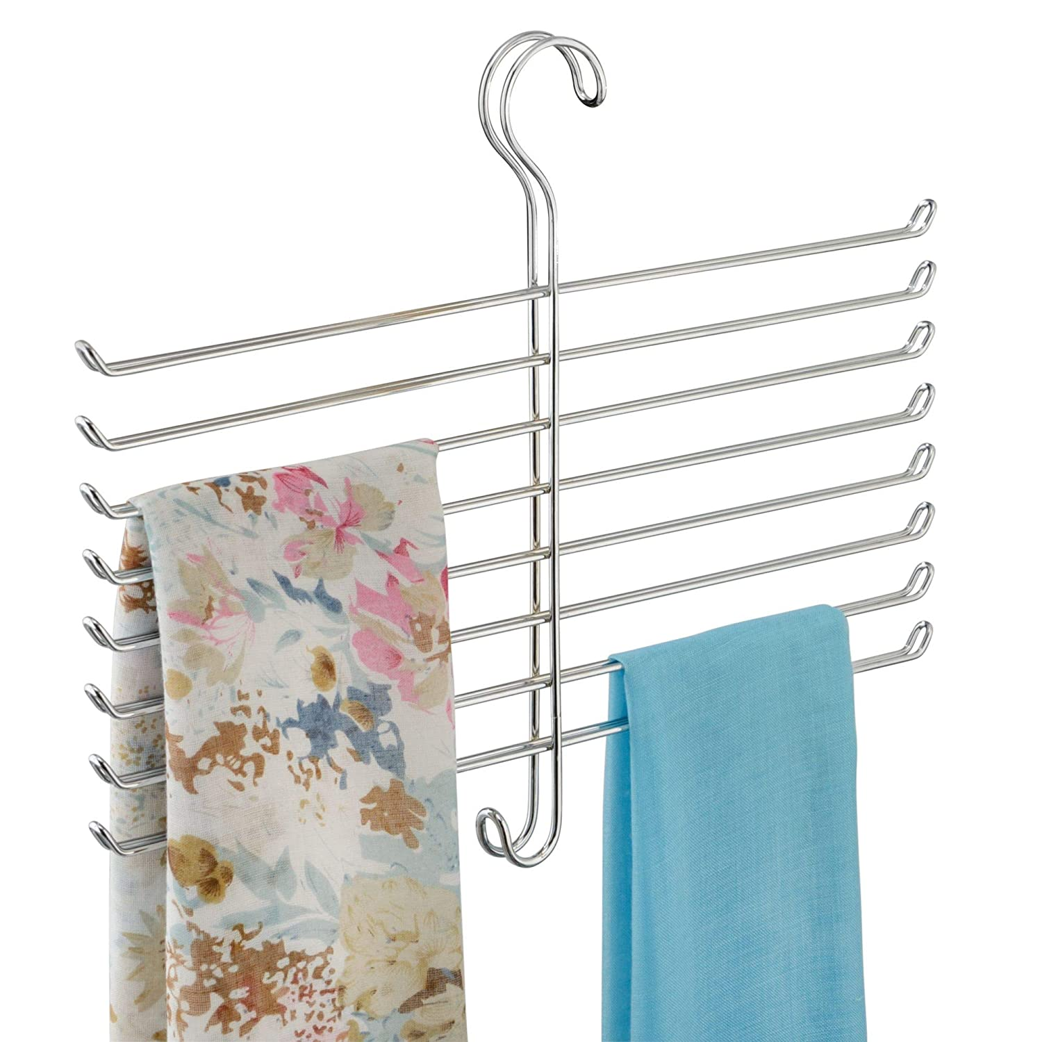 Clothing 10.25 x 3.75 x 6.75 Chrome Womens Shawls Scarves Accessories Pashminas Hanging Closet Organization Storage Holder for Belts interDesign Classico Metal Tie Hanger Mens Ties