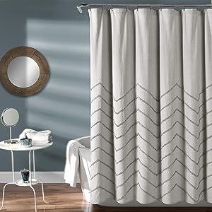 "Lush Decor Light-Gray Chenille Chevron Shower Curtain for Bathroom (72"" x 72"")"