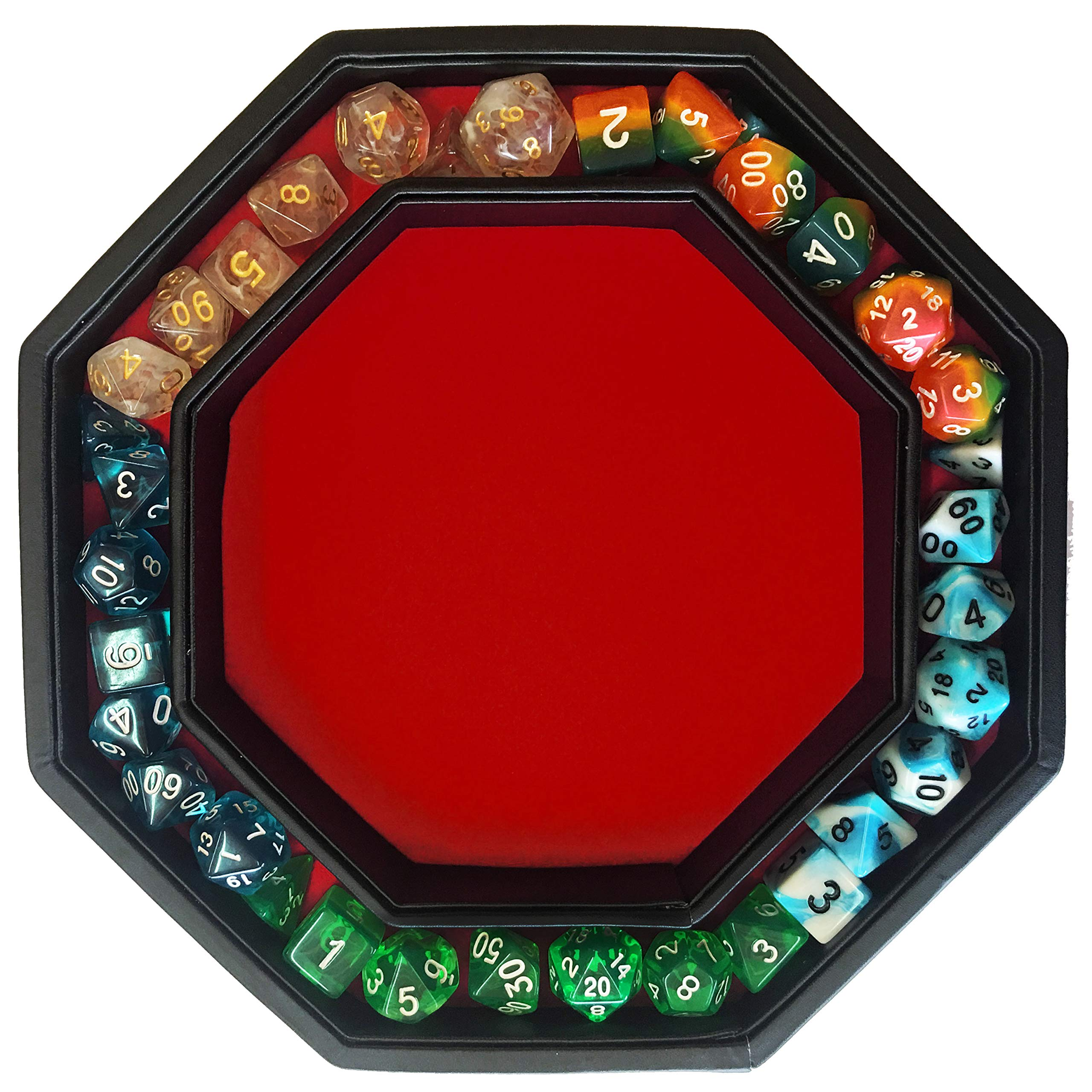 Fantasydice- RED - Fire Dragon - Dice Tray - 8'' Octagon with Lid and Dice Staging Area- Holds 5 Sets of Dice(7 / Standard) for All Tabletop RPGs Like D&D , Call of Cthulhu, Shadowrun. by Fantasydice (Image #7)