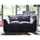 Dylan Byron Grey Fabric Jumbo Cord Sofa Settee Couch 2 Seater
