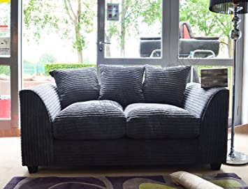 new arrival c43f8 1215c Dylan Byron Grey Fabric Jumbo Cord Sofa Settee Couch 2 Seater