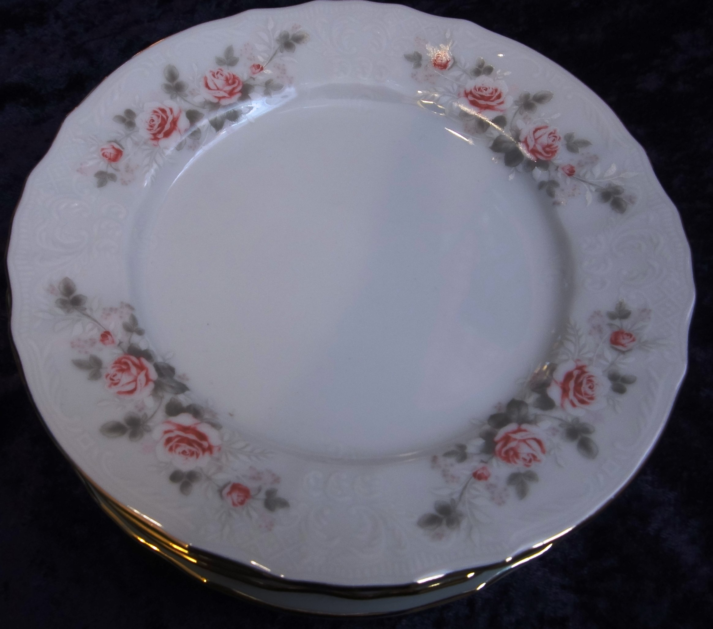 Plate set for 6 persons, Grey Roses, Carlsbad porcelain