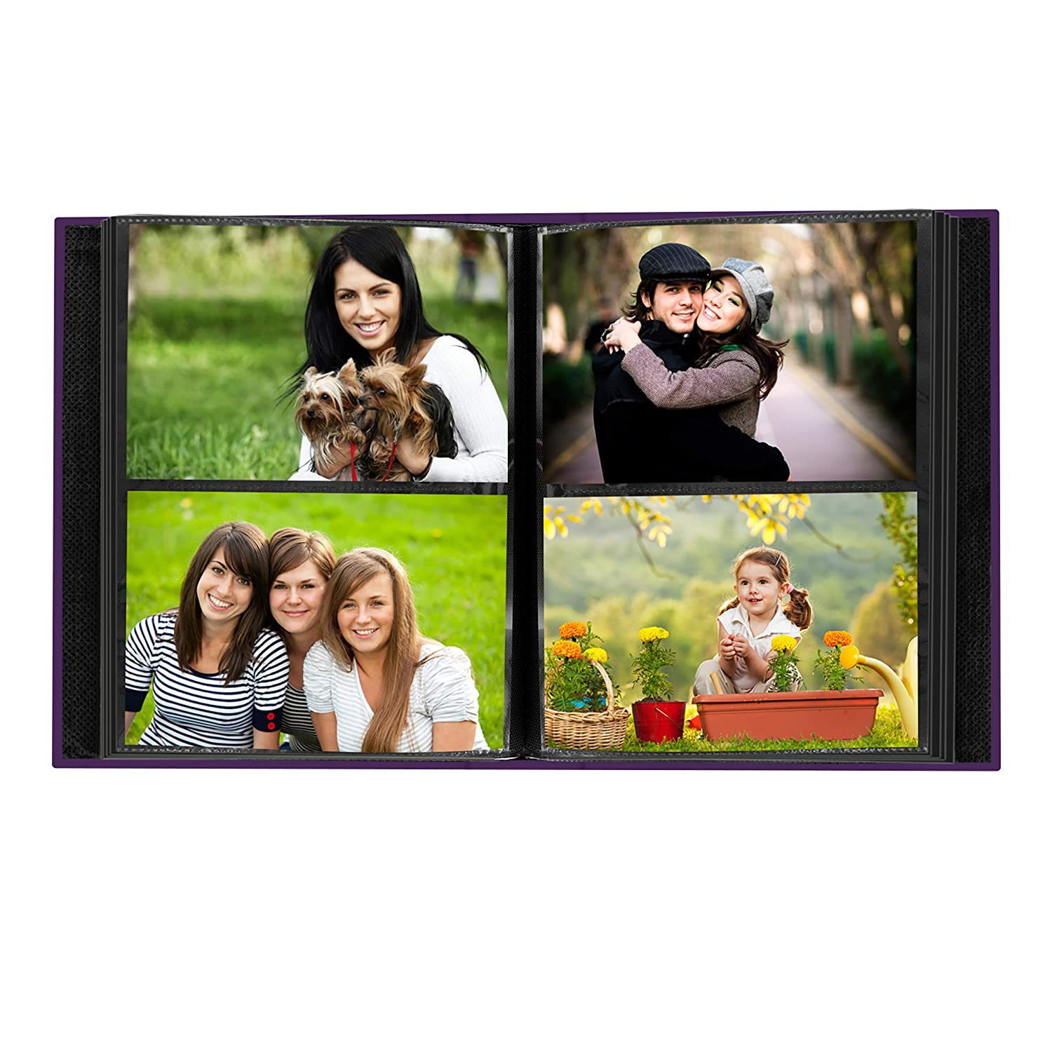 Pioneer Photo 208-Pocket Bright Purple Sewn Leatherette Photo Album with Silvertone Metal I.D Plate for 4 by 6-Inch Prints